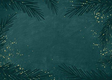 Sierlijke nieuwjaarskaart goudlook kalligrafie Achterkant
