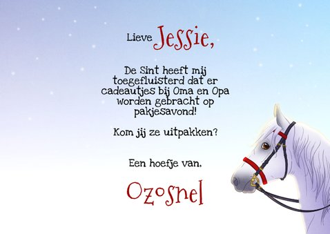 Sinterklaaskaart uitnodiging met paard 3