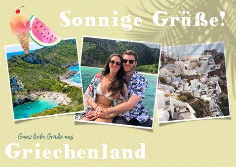 Sommerliche Urlaubskarte mit drei Fotos 2