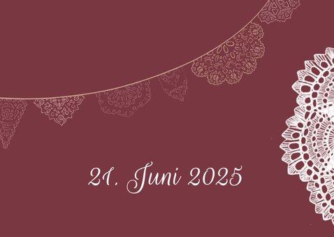 Spitze und Wimpel Hochzeitseinladung 2