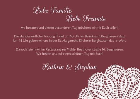 Spitze und Wimpel Hochzeitseinladung 3