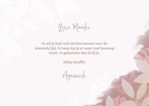 Sterkte kaart knuffel met roze plantjes en waterverf 3