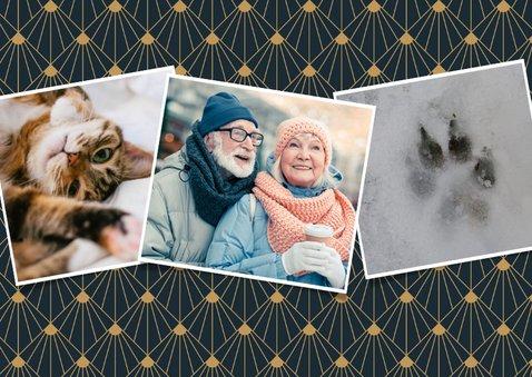 Stijlvolle art-deco kerstkaart met 3 eigen foto's 2