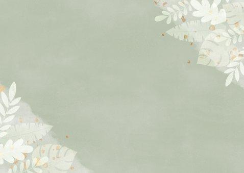 Stijlvolle bedankkaart fotocollage waterverf junglebladeren Achterkant