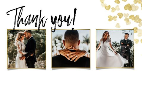 Stijlvolle bedankkaart met gouden hartjes en foto's 2