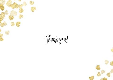 Stijlvolle bedankkaart met gouden hartjes en foto's Achterkant