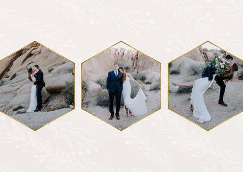 Stijlvolle bedankkaart trouwdag met foto's goudlook naturel 2