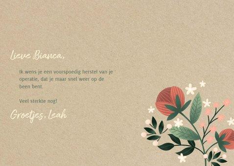 Stijlvolle beterschapskaart met bloemen en kraft 3