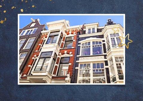 Stijlvolle blauwe verhuiskaart met koperkleur verhuisd 2
