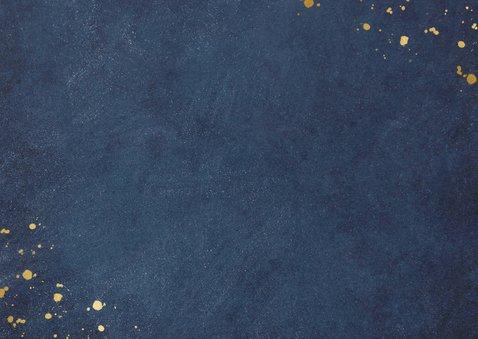 Stijlvolle blauwe verhuiskaart met koperkleur verhuisd Achterkant