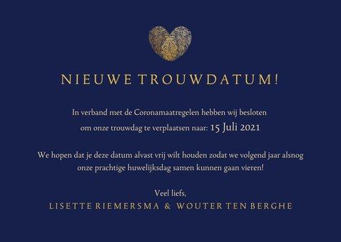 Stijlvolle Change the Date kaart - wijziging trouwdatum 3