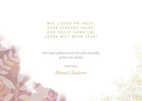 Stijlvolle felicitatiekaart getrouwd planten en waterverf  3