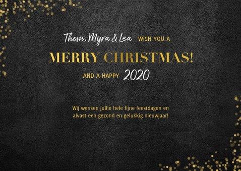 Stijlvolle fotocollage kerstkaart gouden 'merry christmas!' 3