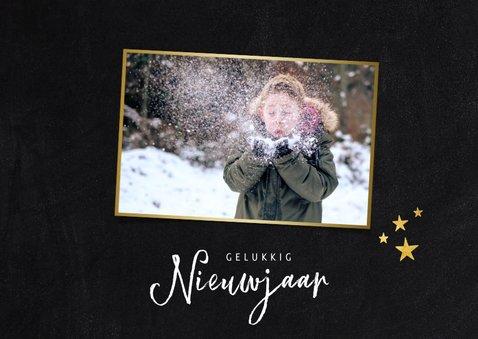 Stijlvolle fotocollage nieuwjaarskaart met zwart/wit foto's 2
