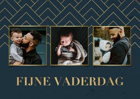 Stijlvolle fotokaart fijne vaderdag blauw met gouden patroon 2