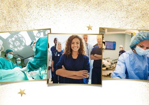 Stijlvolle goudlook fotokaart met gezonde kerst 2