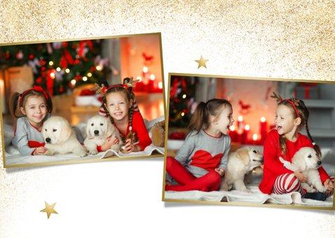 Stijlvolle grote foto kerstkaart met gezonde kerst goudlook 2