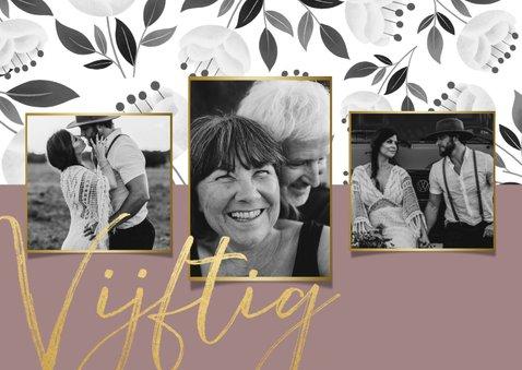Stijlvolle jubileum uitnodiging 50 jaar met witte bloemen 2