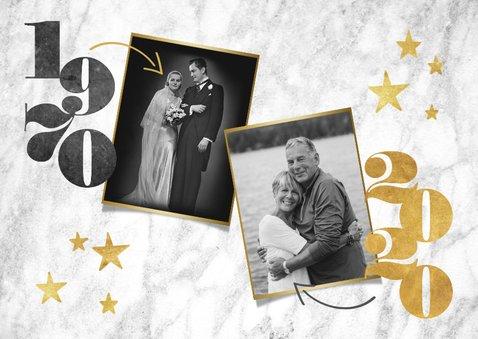 Stijlvolle jubileumkaart met jaartallen, marmer en foto's 2