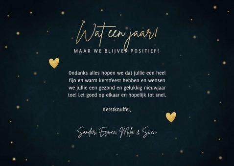 Stijlvolle kerst fotokaart 'Wat een jaar!' sterren & hartjes 3