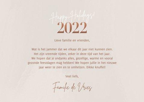 Stijlvolle kerstkaart fotocollage 2022 happy holidays beige 3