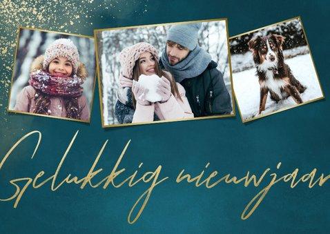 Stijlvolle kerstkaart fotocollage, Fijne feestdagen & sneeuw 2