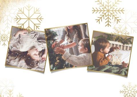 Stijlvolle kerstkaart fotocollage met gouden sneeuwvlokken 2