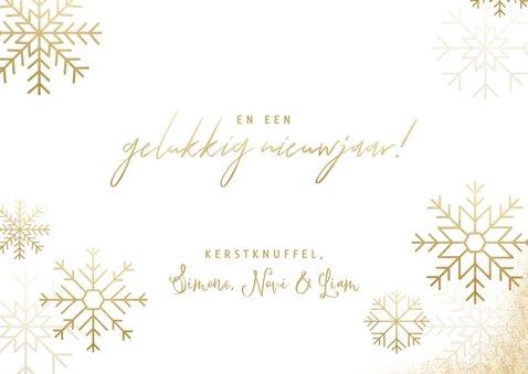 Stijlvolle kerstkaart fotocollage met gouden sneeuwvlokken 3