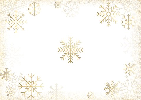 Stijlvolle kerstkaart fotocollage met gouden sneeuwvlokken Achterkant