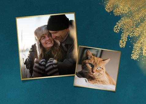 Stijlvolle kerstkaart grote foto gouden dennentak en kader 2