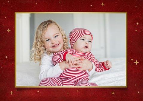 Stijlvolle kerstkaart met 2 eigen foto's en gouden arrenslee 2