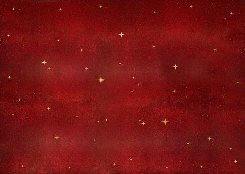 Stijlvolle kerstkaart met 2 eigen foto's en gouden arrenslee Achterkant