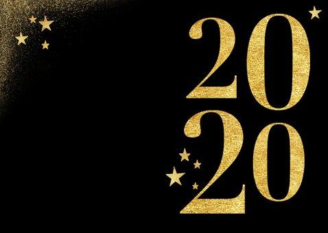 Stijlvolle kerstkaart met gouden 2020 sterren  2