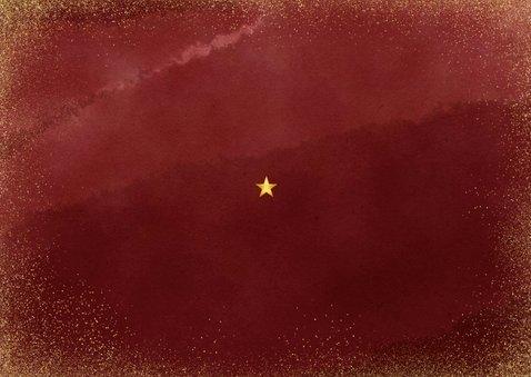 Stijlvolle kerstkaart met uitnodiging kerstborrel goudlook Achterkant