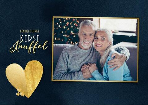 Stijlvolle kerstknuffel met gouden hart foto donkerblauw 2