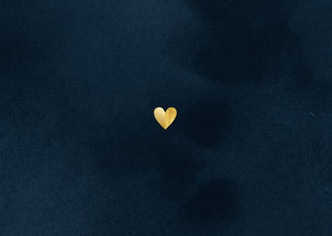 Stijlvolle kerstknuffel met gouden hart foto donkerblauw Achterkant
