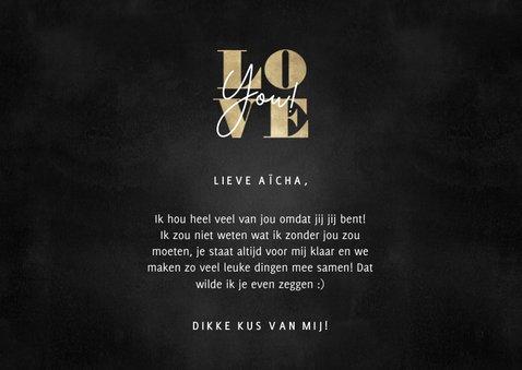 Stijlvolle liefdekaart met foto's gouden typografie Love you 3