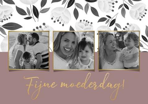 Stijlvolle moederdagkaart met witte bloemen en typografie 2