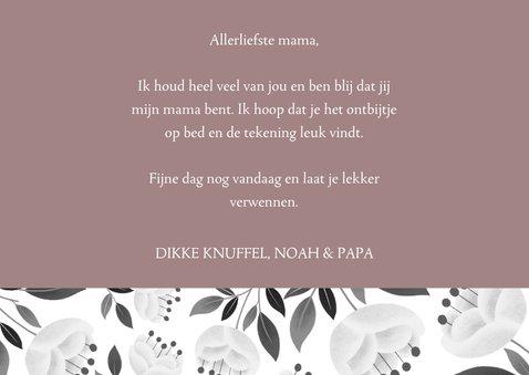 Stijlvolle moederdagkaart met witte bloemen en typografie 3