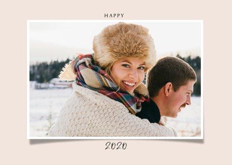 Stijlvolle nieuwjaarskaart met foto en champagneflessen 2