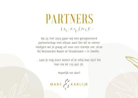 Stijlvolle partnerschap kaart met lijntekening van bladeren 3