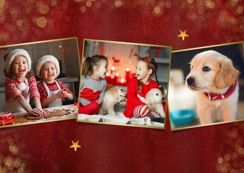 Stijlvolle rode fotocollage kerstkaart met 3 foto's en goud 2
