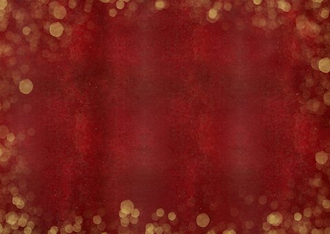 Stijlvolle rode fotocollage kerstkaart met 3 foto's en goud Achterkant