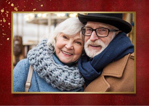 Stijlvolle rode nieuwjaarskaart met goud Beste wensen 2