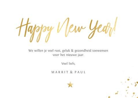 Stijlvolle rode nieuwjaarskaart met goud Beste wensen 3
