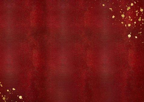 Stijlvolle rood met gouden kerstkaart liggend met eigen foto Achterkant
