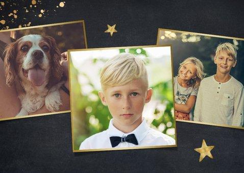 Stijlvolle uitnodiging communie met foto voor een jongen 2