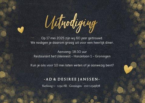 Stijlvolle uitnodiging huwelijksjubileum 60 jaar met goud 3