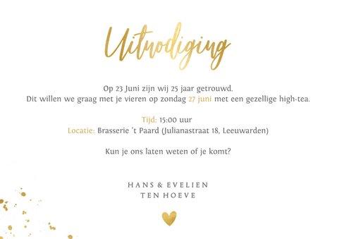 Stijlvolle uitnodiging huwelijksjubileum met 3 foto's 3