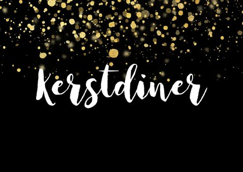Stijlvolle uitnodiging kerstdiner gouden confetti 2